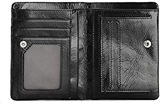 Genuine leather wallet for men short leather purse card pack bifold purse money clip Q903