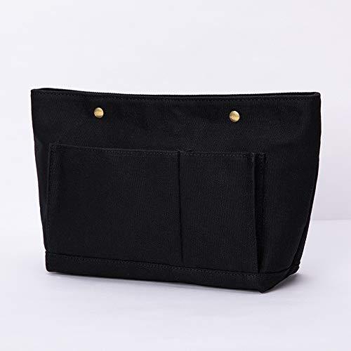 Multifunctionele make-uptas voor dames, van katoenen linnen, middelste tas,  Blanco Y Gris (zwart) - 664536860