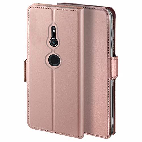 HoneyHülle für Handyhülle Sony Xperia XZ2 Hülle Leder Premium Tasche Hülle für Sony Xperia XZ2, Schutzhüllen aus Klappetui mit Kreditkartenhaltern, Ständer, Magnetverschluss, Rose Gold