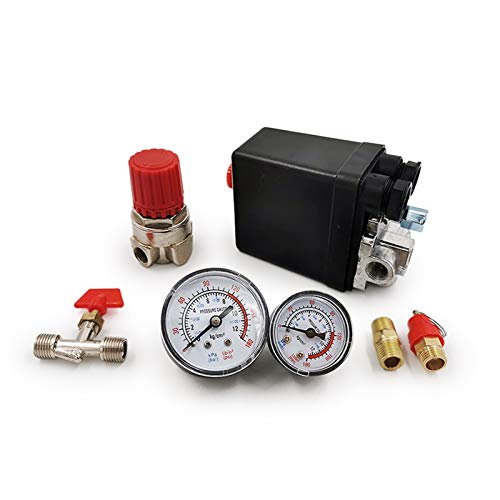 240 V CA Regulador de la bomba de compresor de aire de servicio pesado Interruptor de control de presión de 4 puertos Válvula de control de la bomba de aire 90-120PSI con calibre