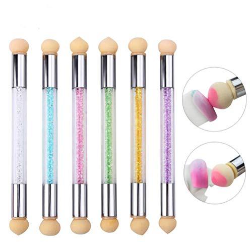Têtes d'éponge de Sharp Ronde Pinceau Poudre Ombre Replaceable Gradient Pen poignée Courte Nail Art Outil UV Gel Polish