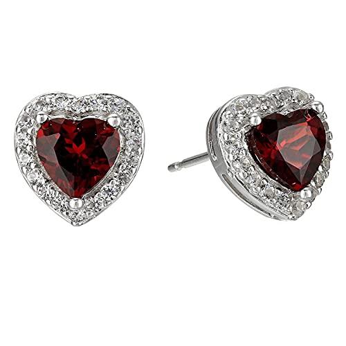 CaratYogi Elegir tu color - Pendientes de plata de ley 925 con diseño de corazón con 3 puntas de halo, hermoso regalo para madre, hermana, mejores amigas y esposas