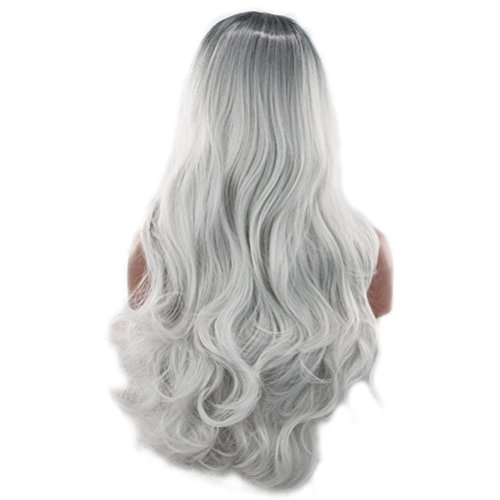 Frcolor Long Wave Curly Cosplay Peluca Lolita Estilo Anime Costume Pelucas Negro Ombre Gris