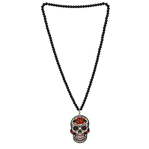 NET TOYS Cadena La Catrina Colgante Calavera Collar Sugar Skull Cadena Cuello Día de los Muertos Amuleto Halloween Bisutería Fiesta Tradicional Mexicana