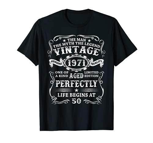Hombre Nacido En 1971 Vintage 1971 50 Años Cumpleaños Hombre Regalo Camiseta