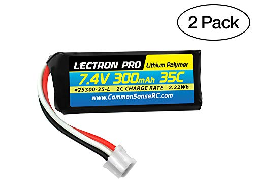 (2 Pack) Lectron Pro 7.4V 300mAh 35C Lipo Battery with UMX Connector for The UMX Timber, Beast, Carbon Cub, Blade 130X & mCP X BL