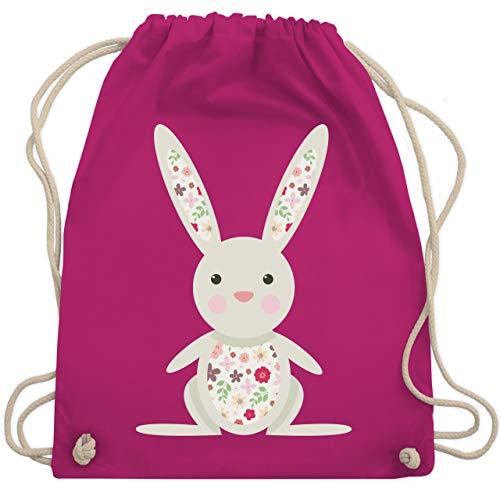 Ostern - Süßer Hase - Frühlingstiere mit Blumen - Unisize - Fuchsia - sportbeutel kinder - WM110 - Turnbeutel und Stoffbeutel aus Baumwolle