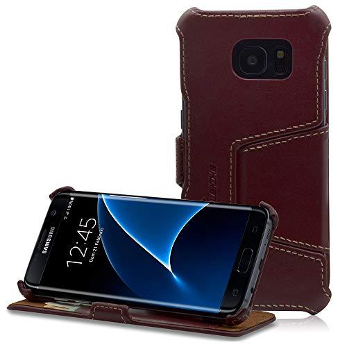 Manna Custodia Galaxy S7 Edge Cover Protettivo per Samsung Galaxy S7 Edge in Vera Pelle Nappa Rosso viniaccia con Funzione EasyStand