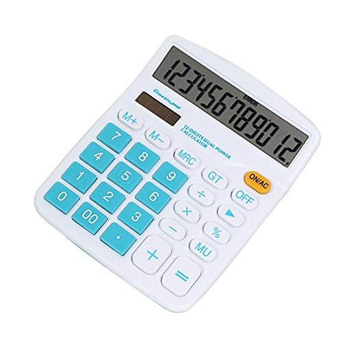 Tedlku Zakrekenmachine, 12-cijferige rekenmachine, groot display, zonne-energiebatterij, voor thuiskantoor, schoolgereedschap, dual power supply groen