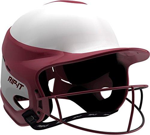 RIP-IT Vision Pro Softball Helmet/Face Guard, Maroon, Medium/Large