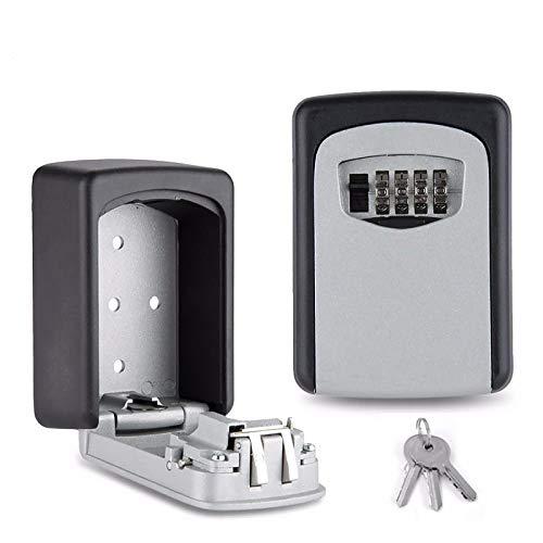 Caja de seguridad para llaves, Dnieheic caja de seguridad montada en la pared, 4 dígitos llave de combinación impermeable para llaves de repuesto de seguridad al aire libre/trabajadores/gimnasio