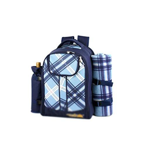Bolso de Mochila de Picnic para 4 Personas con Compartimento refrigerante, Botella Desmontable/de Vino, Mantilla de vellón, Placas y Cubiertos (Color : Blue, tamaño : Without Cutlery)