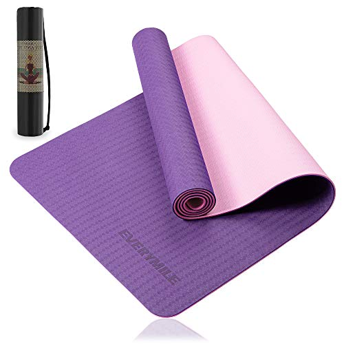 EveryMile Yoga Mat for Women Eco Friendly Fitness Exercise Mat with NonSlip Textured Surface 1/4inch Workout Mat for Yoga Pilates and Home Floor Exercise with Carrying Bag amp Strap