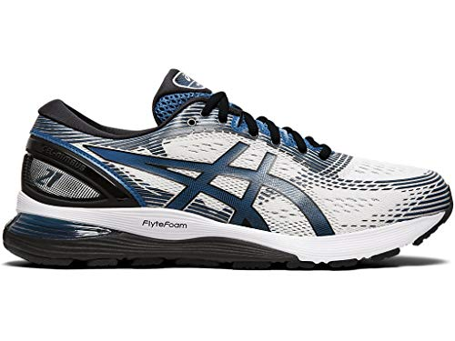 ASICS Men's Gel-Nimbus 21 Running Shoes, 12M, White/DEEP Sapphire