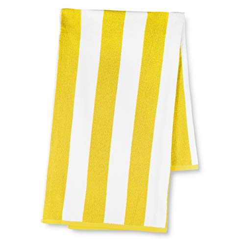 Luxor Linens 40-Inch-by-70-Inch Egyptian Cotton Classic Anatalya Stripe Beach Towel, Yellow