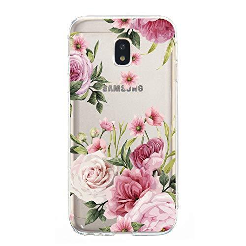 Ostop Hülle für Samsung Galaxy J3 2017/J330,Vintage Blumen Muster Weich Silikon Frauen Mädchen Handyhülle Klar Ultra Dünn Kratzfest Schutzhülle für Samsung Galaxy J3 2017/J330-Rosa Rose
