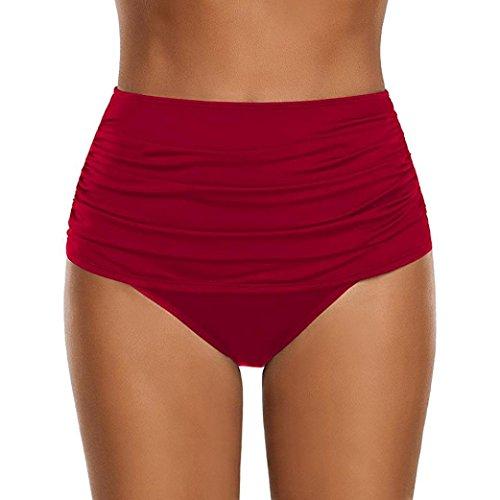 Damen Hipster Bikini-Hose mit Raffungen Unifarben Bikinihose High Waist Ruched Tankinihose Hoch Geschnitten Badeshorts Bikinislip Bauch Weg (XL, Rot)