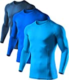 ATHLIO Men's Cool Dry Fit Long Sleeve Compression Shirts, Active Sports Base Layer T-Shirt, Athletic Workout Shirt, 3pack(bls01) - Navy/Blue/Sky, Large