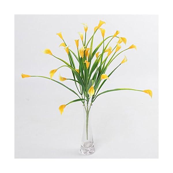 cuiyoush 1 ramo de 5 ramas de cala artificial de lirio de flores para mesa de boda, decoración del hogar (blanco)