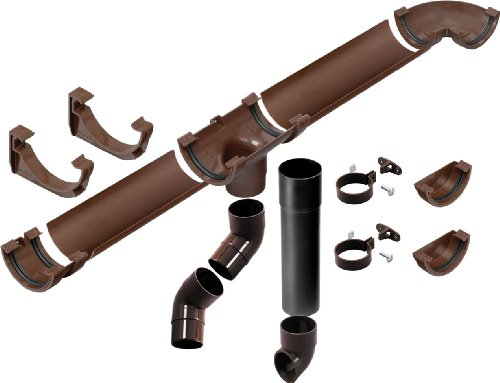 EEZ-Y 75mm Miniline complete Shed Guttering and Downpipe kit Brown (up to 4 metre - 12 feet)