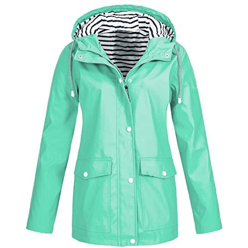 Womens Solid Rain Jacket Outdoor Plus Waterproof Hooded Raincoat Windproof Jacket Mint Green