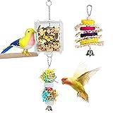 VavoPaw Jaula de Alimentación Colgante para Pájaros, Comedero Transparente con Rejillas Juguete Escalera Papeles Piedra Afilar Pico Alimentación Lenta para Loro Estornino Gorrión, Multicolores