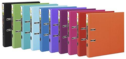 Exacompta 53244E Ordner (PP, 2 Ringe, Rücken 50 mm, DIN A4) 10 Stück Trend-Farbkombination
