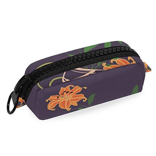 MONTOJ Federmäppchen mit großem Fassungsvermögen, hübsche Lilie, Make-up-Pinsel, Organizer-Tasche aus Segeltuch