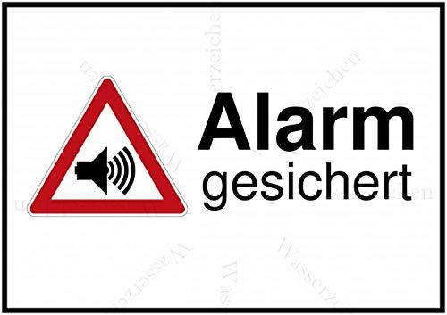 15cm! 3Stück!Aufkleber-Folie Wetterfest Made IN Germany Alarm gesichert Vorsicht Gefahr Alarmanalge S507 UV&Waschanlagenfest-Auto-Vinyl-Sticker Decal Profi Qualität DigitalSchnitt