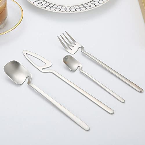 OUDEING Cutlery Set For 6 Juego de vajillas 24 Color-Acero Inoxidable - Puede acomodar 6 x Tenedor, 6 x Mez, 6 x medientes, 6 x cucharadita-Plata 24pcs