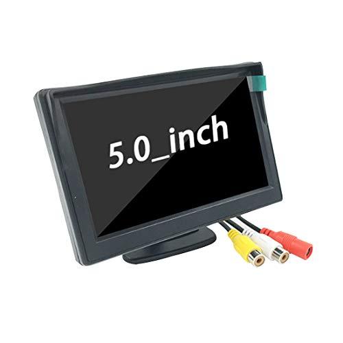 Tongdejing Monitor con Schermo HD LCD TFT da 5 Pollici + Supporto per Telecamera di retromarcia per retrovisione per Auto, Monitor per retrovisore per Auto