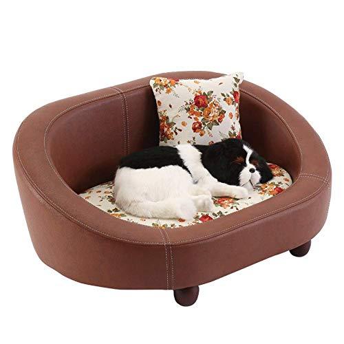 Cama para perros, sofá para perros de perrera para nidos de mascotas, colchón para perros de peluche de cuero de PU, nido para mascotas grandes, medianos y pequeños, cuatro estaciones universales,