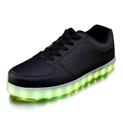 Unisex USB Led Light Up Sneakers (M8/W10, Black)