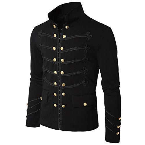 WYX Herren Mantel Jacke Gothic Jacken Täglich Grund Regular Mantel, Feste farbige Ständer Langarm Polyester Schwarz/Grau,a,XXL