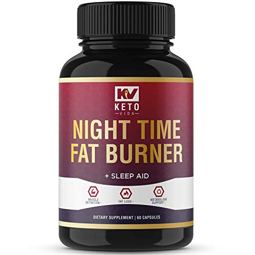 Keto Vida Weight Loss Fat Burner for Night Time to Suppress Appetite and Reduce Cravings; 60 Servings