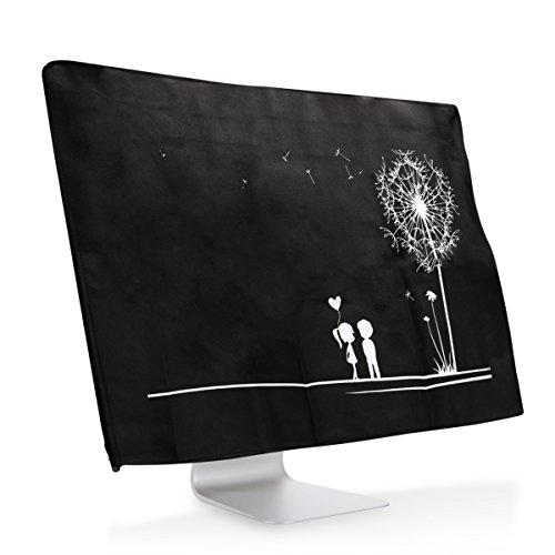 """kwmobile Schutzhülle kompatibel mit 27-28\"""" Monitor - Hülle PC Bildschirm - Computer Cover Case Pusteblume Love Weiß Schwarz"""