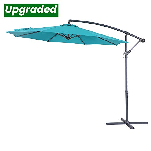 Crestlive Products Upgraded 10 ft Patio Offset Cantilever Umbrella Outdoor Hanging Umbrella with Crank and Cross Base, Gray Umbrella Pole and Ribs (Emerald)