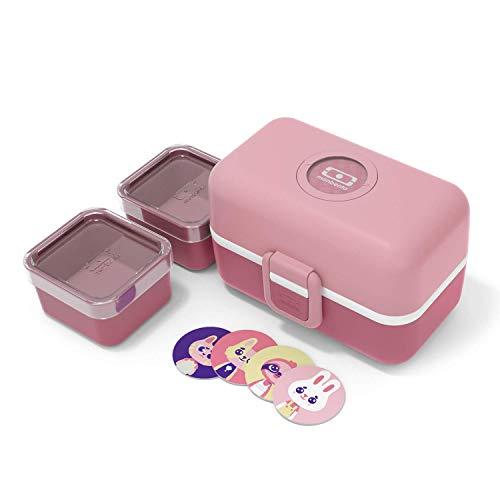 monbento - MB Tresor Rosa Blush Brotdose Kinder mit Trennwand - Bento Box Kids mit Fächer - Individuell Gestaltbar - Snack Box