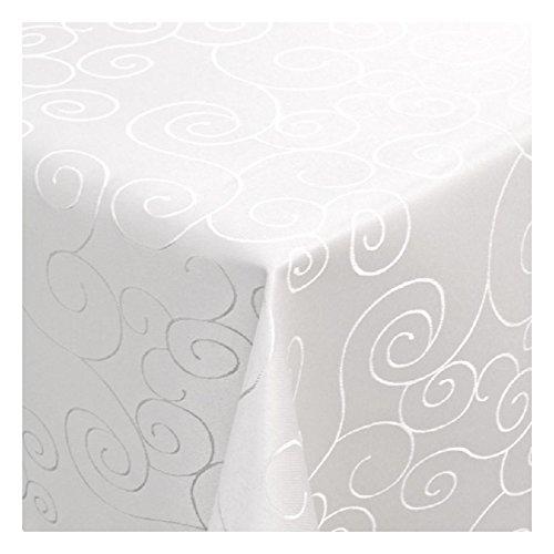 MODERNO Tischdecke Damast mit Saum im Ornamentedesign - Eckig Oval und Rund in Premiumqualität- Größe und Farbe wählbar ECKIG 130x220 cm in Weiß