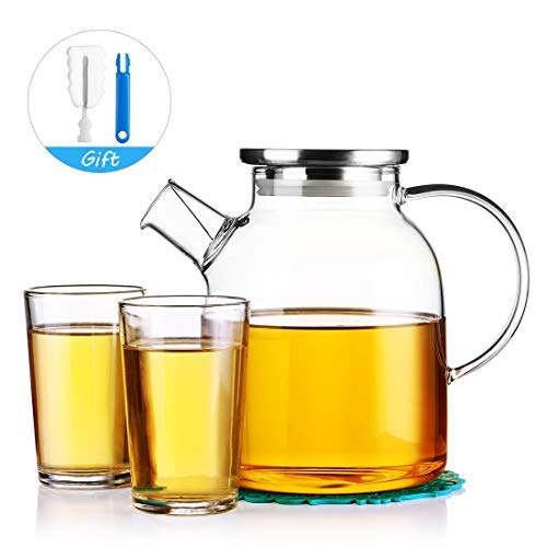 JIAQI 54 Ounces Glass Water Pitcher with Stainless Steel Lid - Large Capacity Water Tea Pot with...