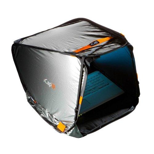 iCap® MIN PRO Notebookzelt, Outdoor Protektor gegen Sonnenlicht, Verblendung, Regen, Staub Hitze, Kälte. Für MacBook, Notebook iPad und Tablets - 10 bis 13,4 Zoll - Breite 33 cm - Silber