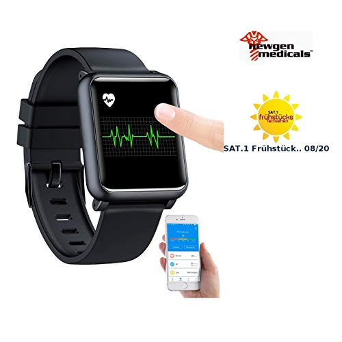 Newgen Medicals Smartwatch: Fitness-Uhr mit EKG- & Blutdruckanzeige, Bluetooth, Touchdisplay, IP68 (Smartwatch mit EKG)
