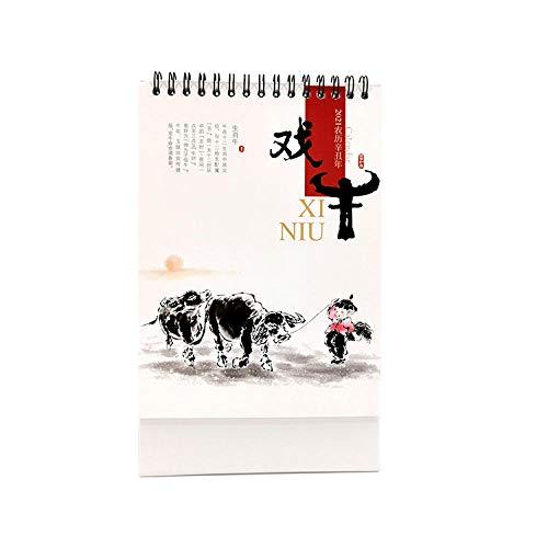 N \ A Calendario Personalizado Chinos Año Nuevo 2021 Calendario Organizador para el Año Lunar del Buey,14.2x8x23cm,Cuadro de Vaca Pintura China Calendario 2021 Escritorio para Organizar Y Planificar