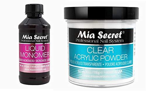 MIA SECRET 4oz Liquid Monomer + 4oz Clear Acrylic Powder Nail Art System