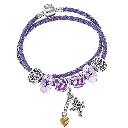 MZFRXZ Damesarmband vintage Tibetaans verzilverd bedelarmband met hanger en parels leer merk armbanden voor vrouwen DIY sieraden