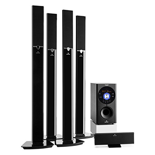 "auna Areal 653 Surround Sound System 5.1-Kanal Heimkinosystem Lautsprechersystem (145 Watt RMS, 16,5 cm (6,5"")-Sidefiring-Subwoofer, Bassreflex, Bluetooth, USB-Port, SD-Slot, AUX) schwarz"