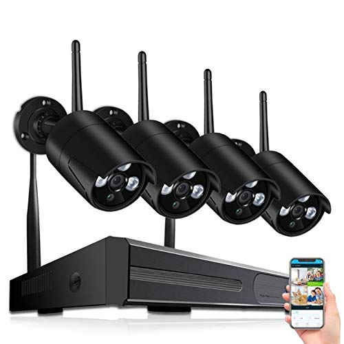 Sistema de cámara CCTV 720P Wireless HD 4CH 1080P NVR WiFi Kit de cámara Video Vigilancia Smart Home Security IP Lad Set al Aire Libre (Build-in HDD : None)