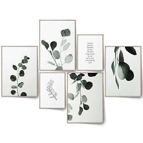 BLCKART Infinity Eucalyptus Love Poster Bilder Set Stilvolle Beidseitig Bedruckte Eukalyptus Poster Wohnzimmer Deko Pflanzen Bilder (L   4X A3   2X A4   ohne Rahmen, Eucalyptus Love)