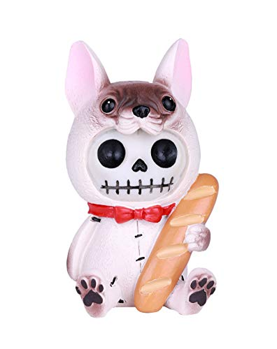 SUMMIT COLLECTION Furrybones Beano Signature Skeleton in Gentleman French Bulldog Costume with Red Bow Tie Holding a Loaf of French Bread