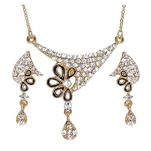 ZCPCS Accesorios de Boda de Moda Dubai Oro Juego de Joyas Nigerianas Collar de Cristal Pendientes de Gota Mujeres Italiano Joyería Nupcial Juegos (Metal Color : F1146)
